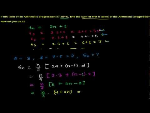 How to find sum of n terms from nth term in an Arithmetic progression
