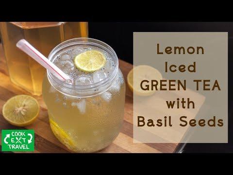Lemon Iced Green Tea With Basil/Sabja Seeds | Cold Brew Green Tea | Iced green tea | Healthy Drinks