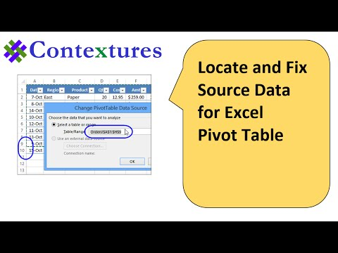 Locate and Change Excel Pivot Table Data Source