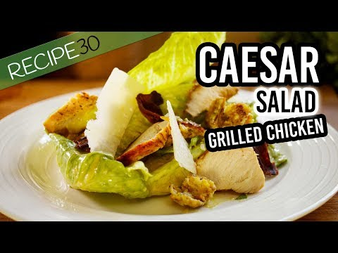 Tangy Caesar Salad with home made dressing, grilled chicken and crispy bacon