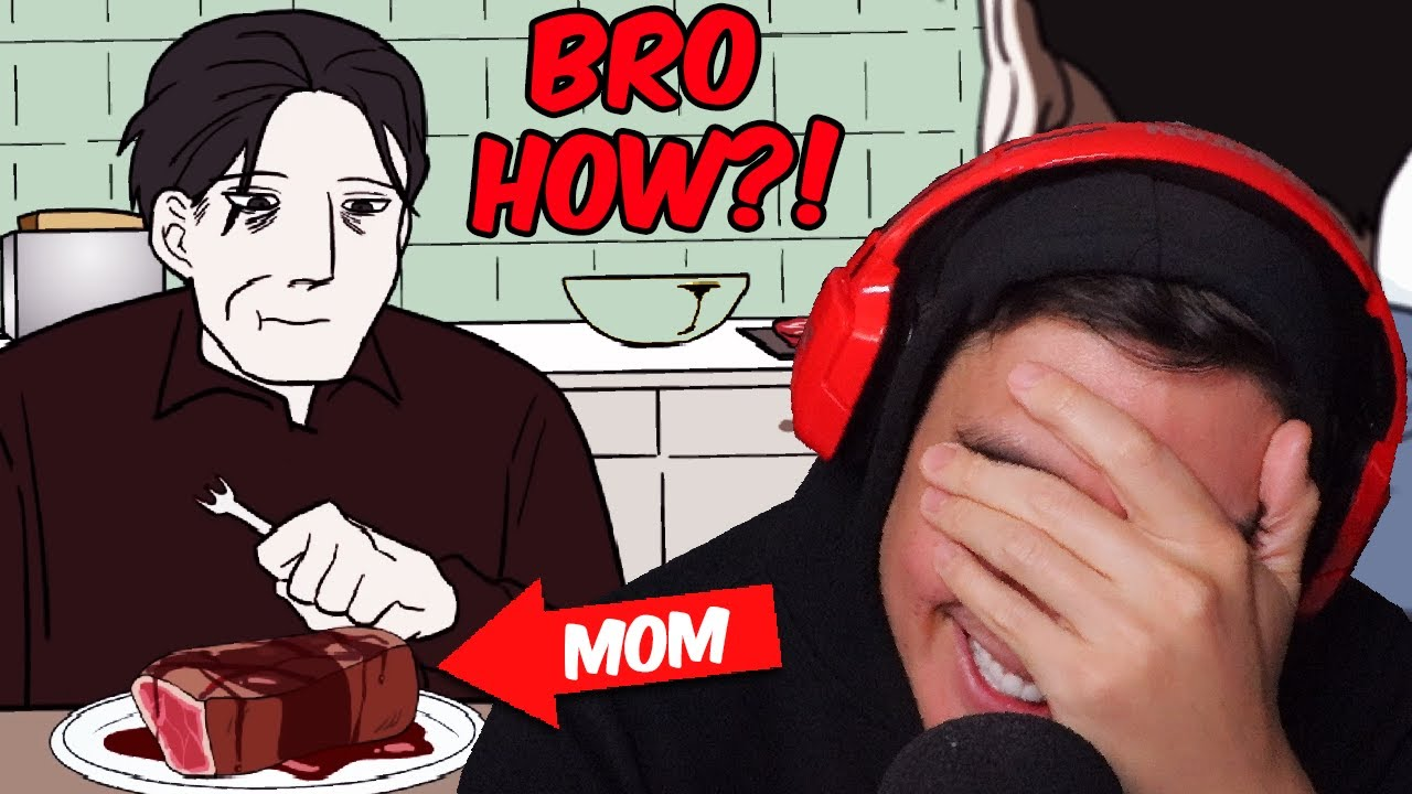 """His Mom Dissappeared & They Accidentally Ate Her For Dinner..(Reacting To """"True"""" Scary Animations)"""