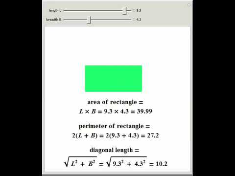 Calculating Area, Perimeter, and Diagonal Length of a Rectangle