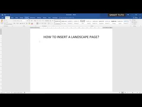 Insert a landscape page in a Microsoft Word 2016 document