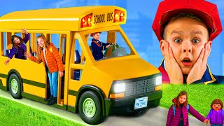 Wheels on the Bus Kids Songs with Toys and Pretend Play Stories