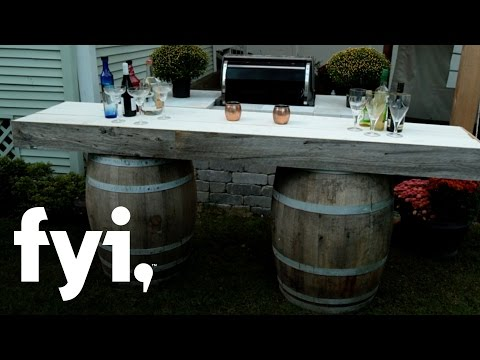 DIY Wine Barrel Bar Tutorial | Downtown Shabby | FYI