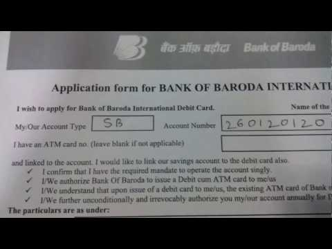 How to apply for ATMs/ Debit Card || Bank of Baroda || in Hindi