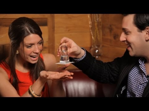 Make a Business Card Stick to a Glass | Table Magic Tricks