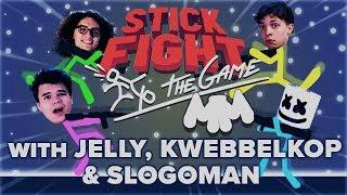 STICK FIGHT Battle Royale w/ Jelly, Kwebbelkop & Slogoman | Gaming With Marshmello