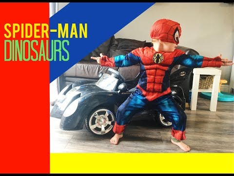 spiderman and batman fight dinosaurs in the bat mobile