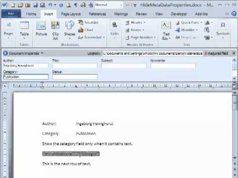 Hide empty metadata fields in Word 2003 and 2010