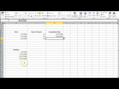 Calculate Completion Date of a Project in Excel 2010