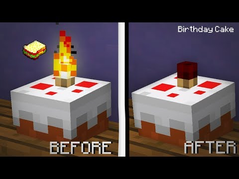 Minecraft | How to make a Working Birthday Cake (can blow candles)