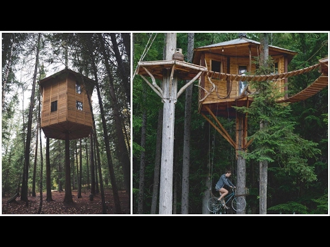 Touring Ethan's 360° Rotating Tree House and Bicycle Elevator Tree House