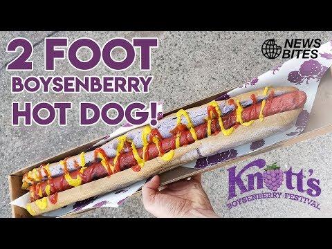 EATING A 2-FOOT BOYSENBERRY HOT DOG!!! | News Bites