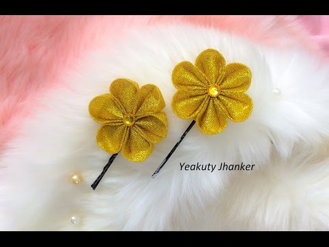 DIY: Kanzashi ribbon flower ( Brooch/ stick pin/ hijab pin/hair clip)