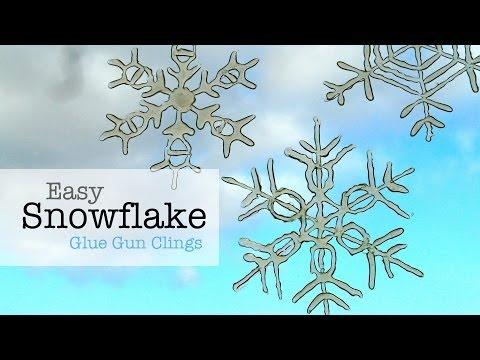 Easy Snowflake Glue Gun Window Clings