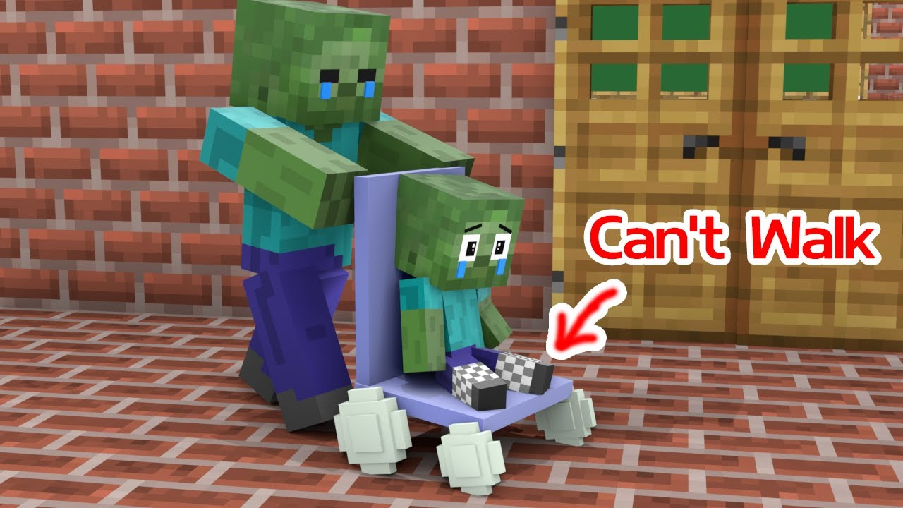 Monster School : Baby Zombie Can't Walk - Sad Story - Minecraft Animation