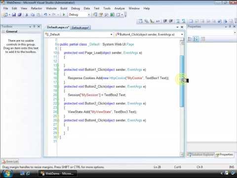 Visual Studio 2008 Cookie, Session, and ViewState State Tutorial