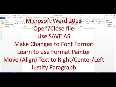 Microsoct Word 2013/2016 pt 2 (Formatting, Format Painter, Alignment)
