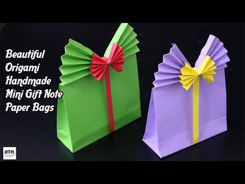 Beautiful Origami Handmade Mini Gift Note Paper Bags   DIY Paper Crafts   Origami Kids' Gift Bags