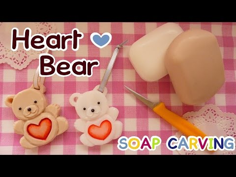 SOAP CARVING | Easy | Heart Bear | Corazón Oso | How to make | Real Carving Sound | DIY|