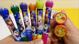 FROZEN Anna Elsa Olaf Pens with Stamps & Smiley Stamps for School