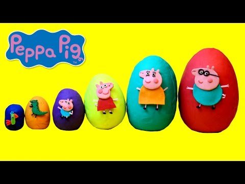 Smallest to Biggest Peppa Pig Play Doh Surprise Eggs - Learn Sizes
