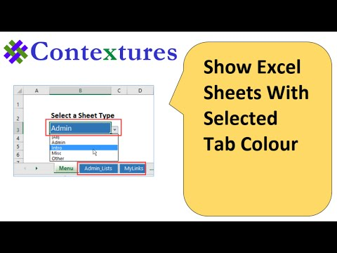 Show Excel Sheets With Selected Tab Color