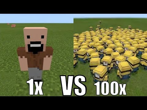 What Happens When 100 Minions Fight Against Notch in Minecraft Pocket Edition?