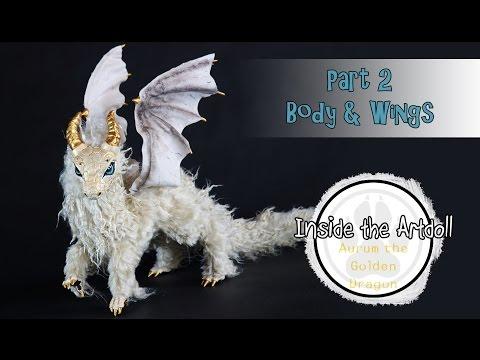 Aurum the Golden Dragon poseable art doll - Part 2