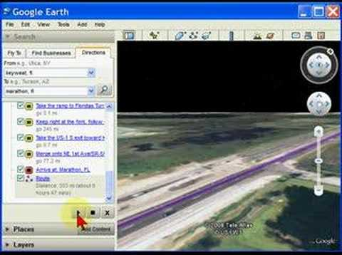 Google Earth Fly By directions