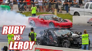 RUBY vs. LEROY - Their First Heads Up Drag Race! *FREEDOM ALERT* (+Demolition Drag Racing)