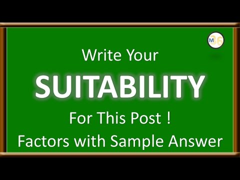 Write Your Suitability To The Post - Factors and Sample Idea