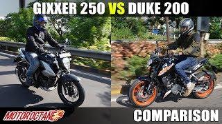Suzuki Gixxer 250 vs KTM Duke 200 | Comparison | MotorOctane