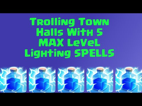 Clash of Clans Trolling a Town Hall 3 with 5 Lightning Spells!