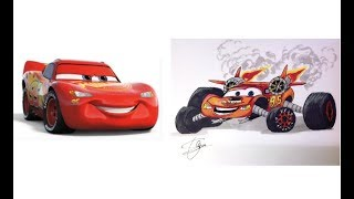 Drawing Cars 3 Lightning Mcqueen Jackson Storm School Bus Miss Fritter as Monsters