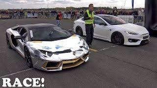 Lamborghini Aventador vs Prior Design Tesla PD-S1000 Model S
