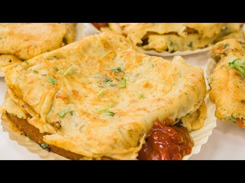 Eggless Bread Omelette Recipe | Indian Street Style No Egg Veg Bread Omelets | Street Food