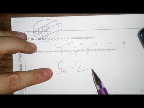 Q25 Nth Term Linear and Quadratic Sequences June 2017 Calculator Paper 2 Foundation