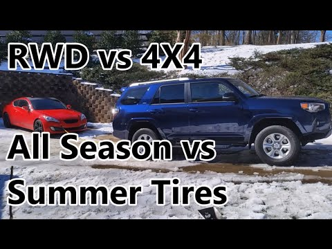 RWD vs 4X4 in The Snow: Summer Tires vs All Season
