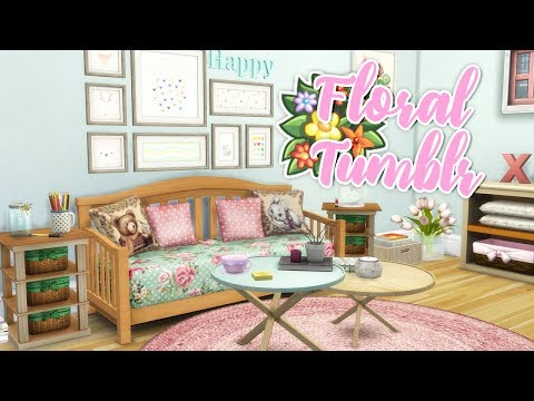 FLORAL & TUMBLR LIVING ROOM🌸🌼 // THE SIMS 4 | CC ROOM BUILD