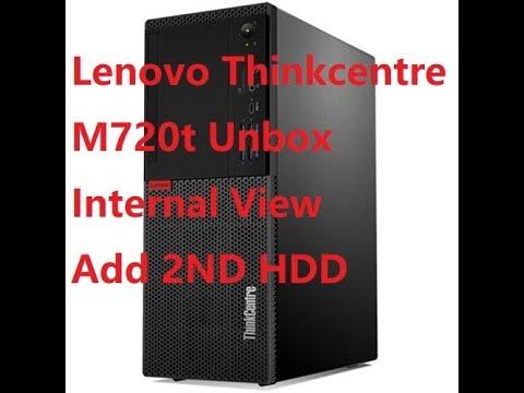 Lenovo ThinkCentre M720t Desktop PC unbox, Internal view, add 2nd hard drive