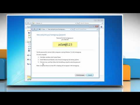 Windows® 7: How to find the Homegroup password