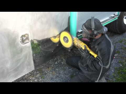 Aluminum Polishing a flat box on a trailer