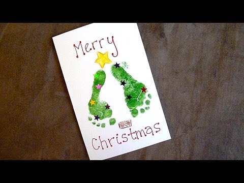 Baby Holiday Craft: Easy Footprint Christmas Cards