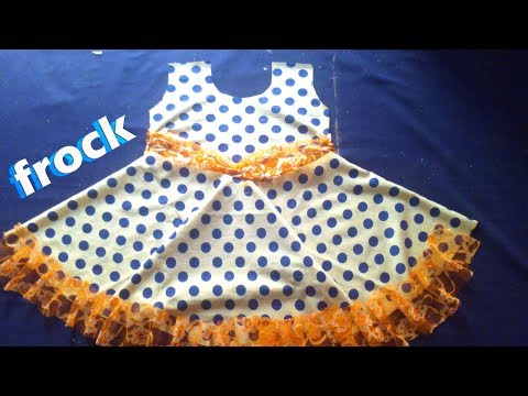 Kids Summer Cotton Frock cutting and stitching very Simple frock dress tutorial  for beginners
