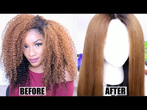 How I Straighten Curly Hair NO HEAT DAMAGE | Curly to Straight Wig