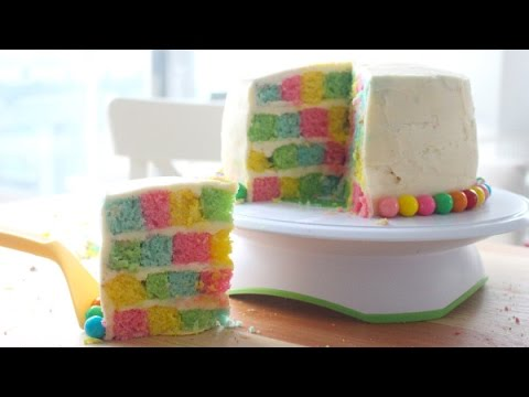 How to make Checkerboard Cake, square checkerboard cake without special pan, make chess cake