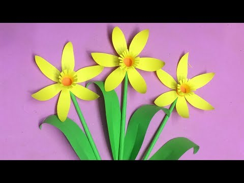 How to Make Paper Daffodils Flower | Making Paper Flowers Step by Step | DIY-Paper Crafts