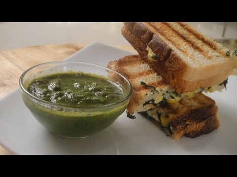 Cheesy Spinach and Corn Grilled Sandwich   Sanjeev Kapoor Khazana